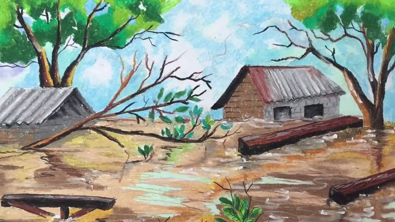 1280x720 Learn How To Colour A Flood With Oil Pastel By Marhanim