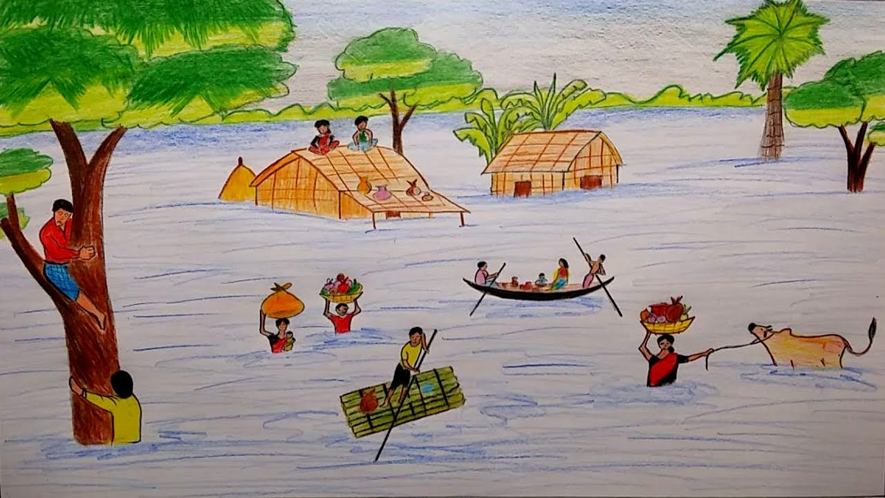 1280x720 Learn How To Draw Scenery Of Flood Affected Peoples