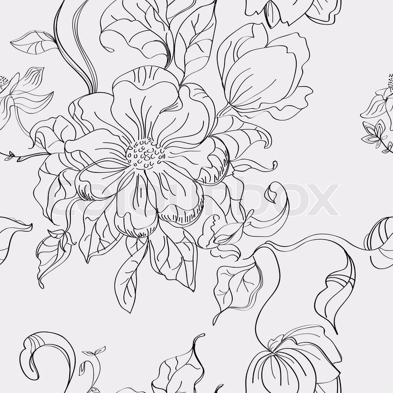 800x800 Floral Seamless Pattern, Hand Drawing Illustration Stock Photo