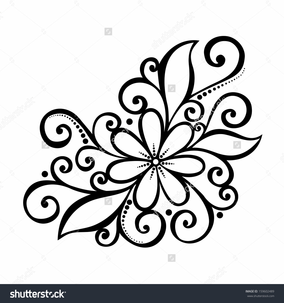 960x1024 Flower Design Pencil Drawing Simple Floral Designs For Drawing