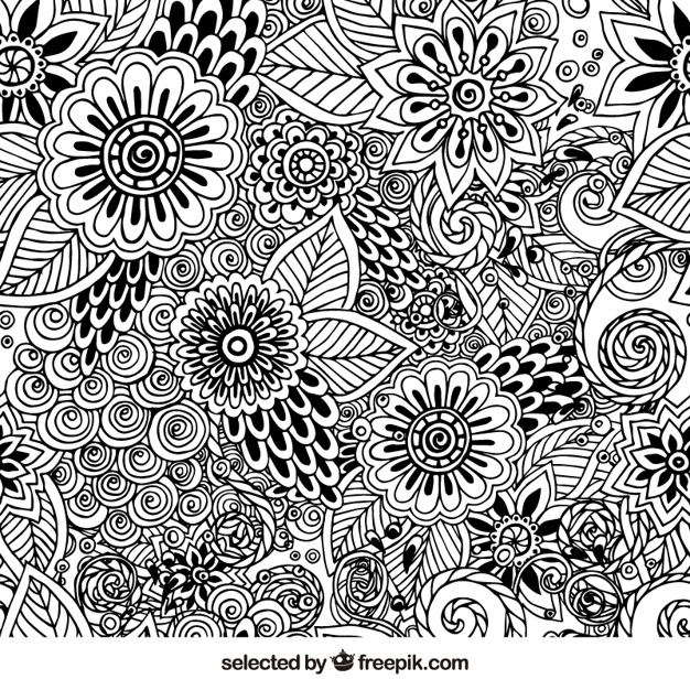 626x626 Hand Drawn Floral Pattern Vector Free Download