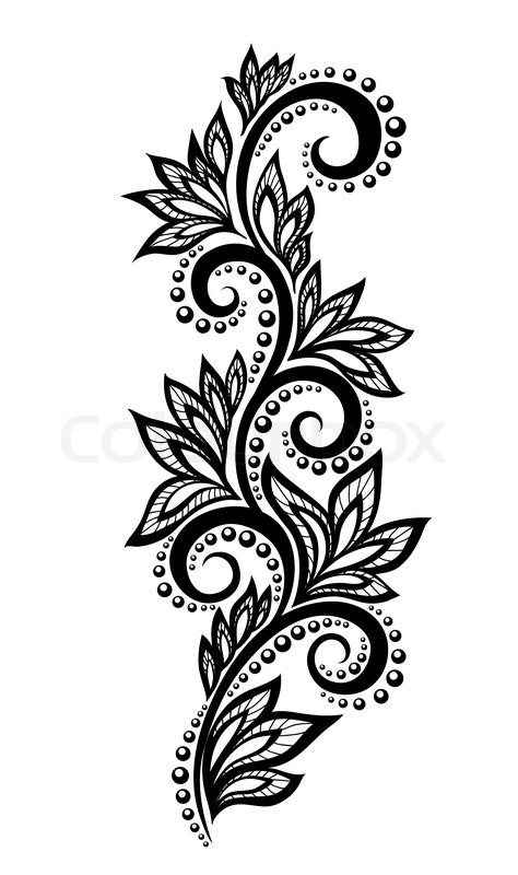 474x800 Isolated Floral Design Element With The Effect Of Lace Eyelets