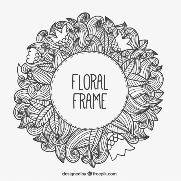 626x626 Hand Drawn Floral Frame Vector Free Download
