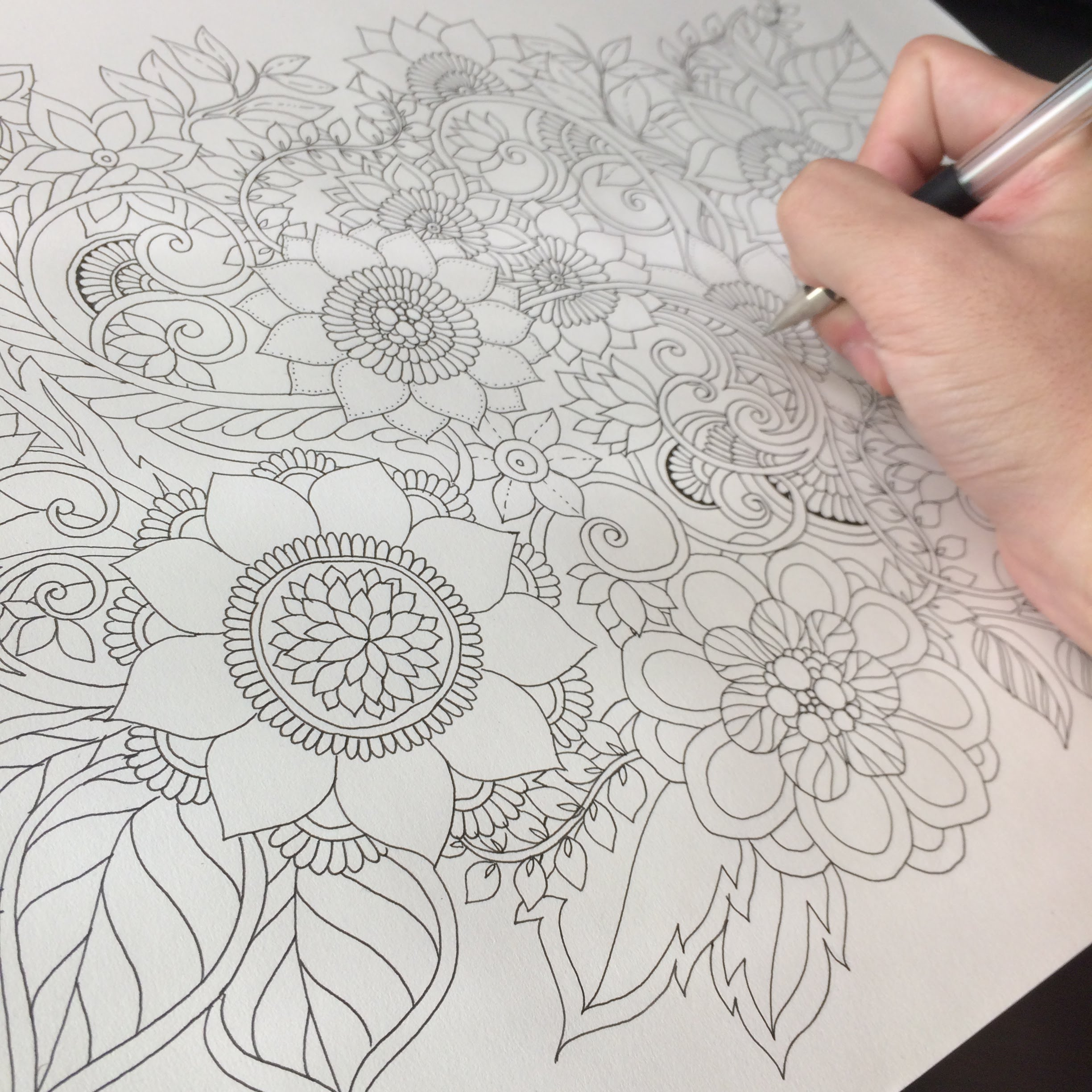 2448x2448 Highspeed Floral Drawing For Coloriage Book