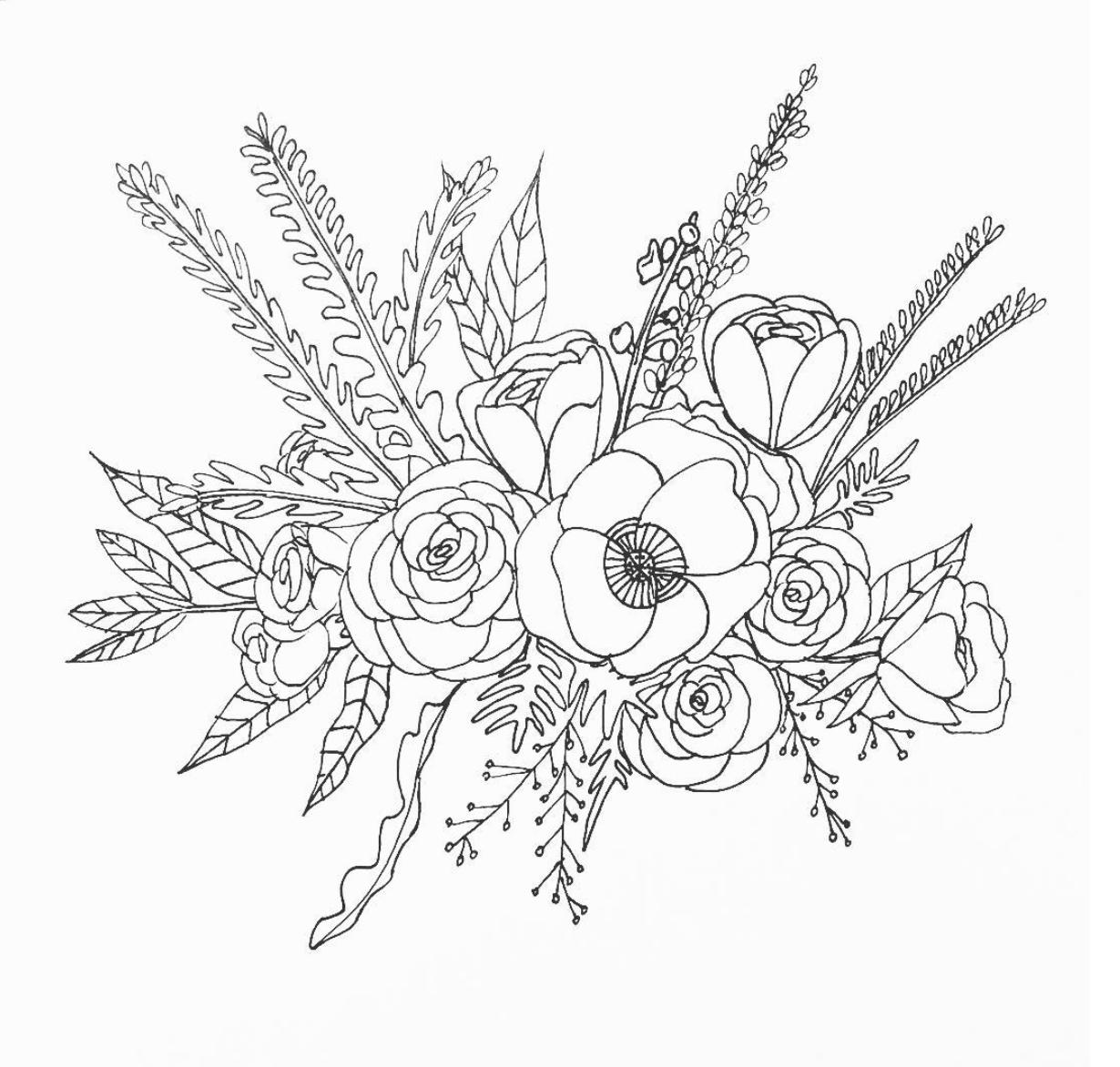 1230x1172 Line Drawing Flower Illustration Floral