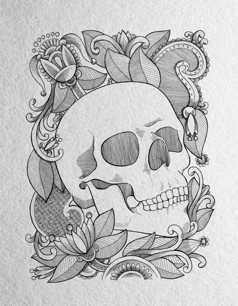 788x1014 Skull And Floral Drawing By Doncarlossalinas