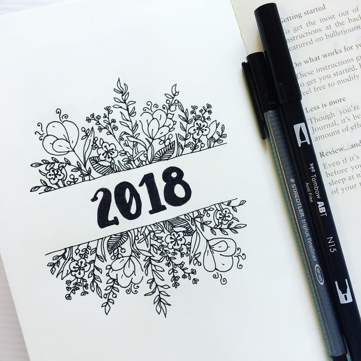 736x736 Bullet Journal Yearly Cover Page, Flower Drawings, Floral Drawings