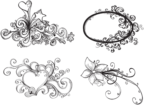 500x369 Floral Drawing Elements Free Vector