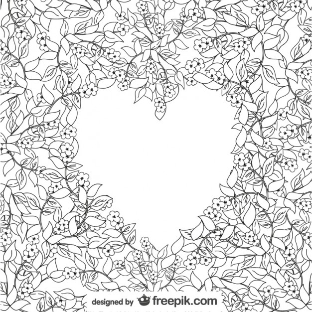 626x626 Floral Drawing Heart Free Vector 123freevectors