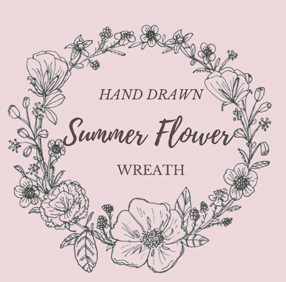 570x562 Hand Drawn Summer Flower Wreath Line Drawing Flowers