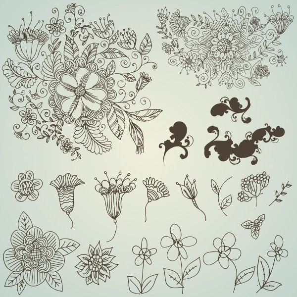 600x600 Line Drawing Flower Pattern Vector Free Vector In Encapsulated
