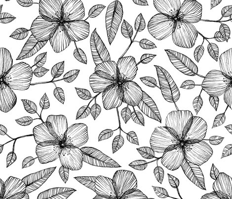 470x403 Black Amp White Floral Line Drawing Pattern Fabric