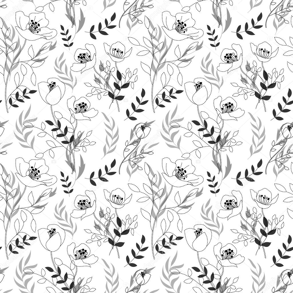 1024x1024 Black And White Pattern Poppies, Cute Seamless Background
