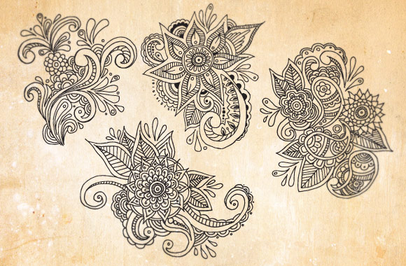 580x380 Hand Drawn Floral Paisley Patterns