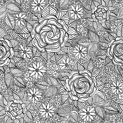 400x400 Seamless Black And White Hand Drawn Floral Pattern Royalty Free