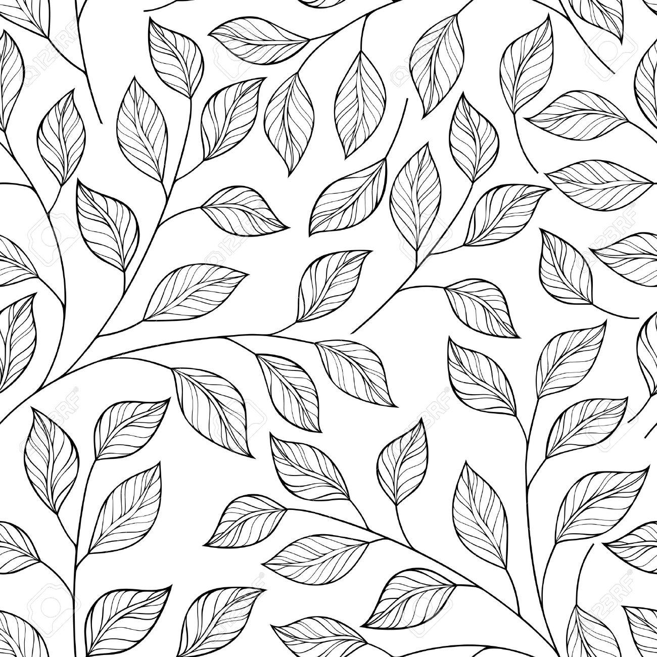 1300x1300 Vector Seamless Contour Floral Pattern. Hand Drawn Monochrome