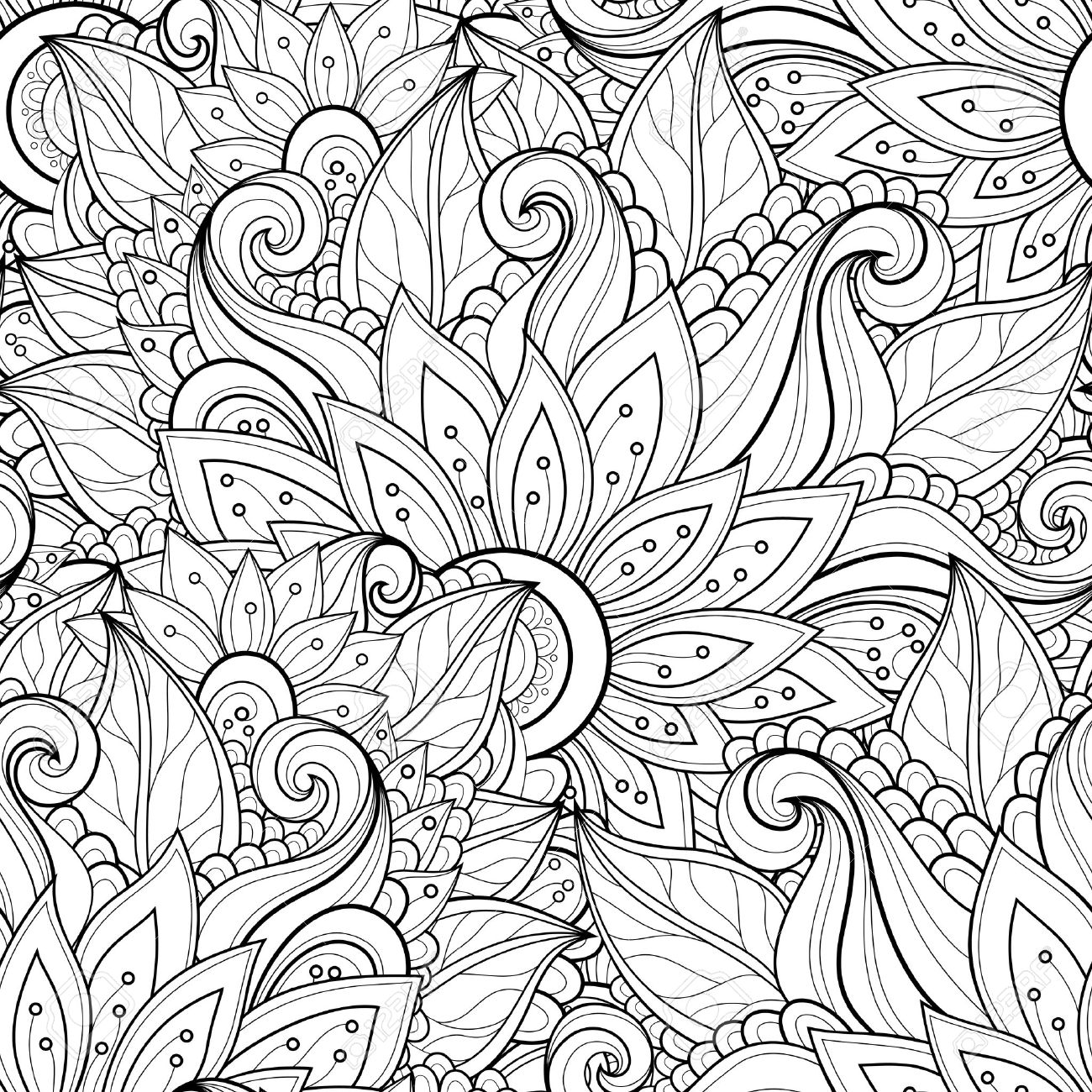1300x1300 Vector Seamless Monochrome Floral Pattern. Hand Drawn Floral
