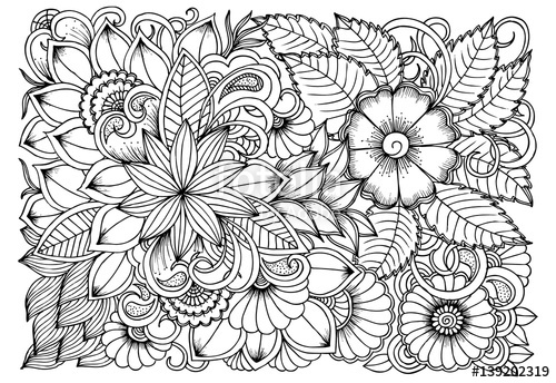 500x344 Black And White Flower Pattern For Coloring. Doodle Floral Drawing