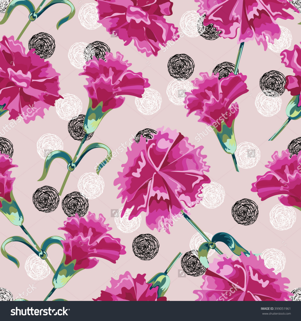 960x1024 Flower Drawings For Print Vector Seamless Carnation Floral Print