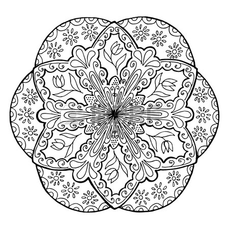 450x450 Hand Drawing Mandala, Round Floral Ornament. Pattern For Coloring