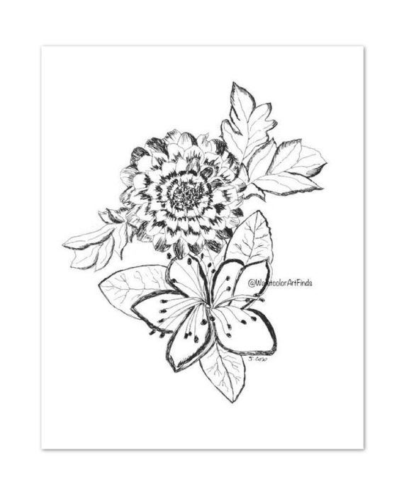570x687 Ink Drawing Floral Boho Flower Print Cottage Chic Print