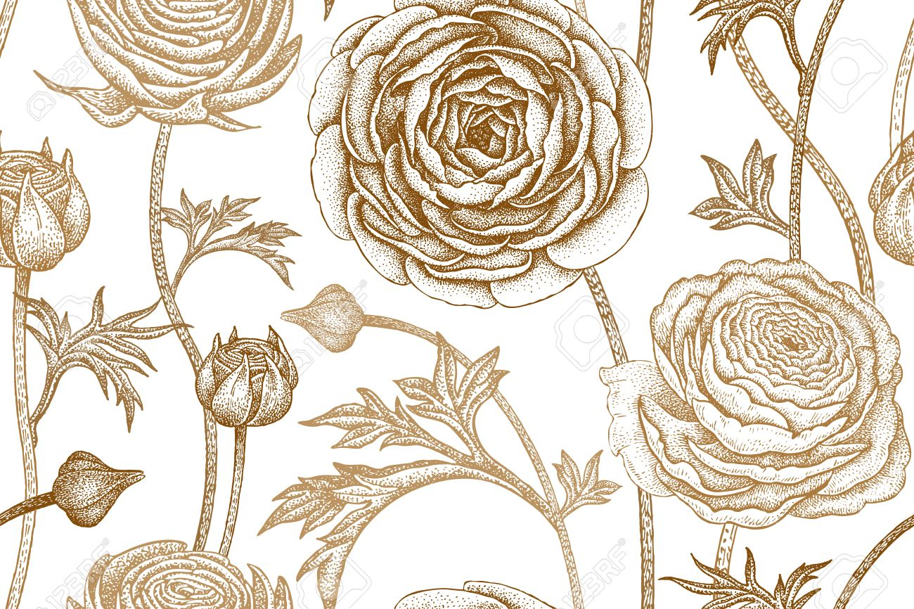 1300x866 Spring Flowers Seamless Floral Pattern. Hand Drawing Garden Plants