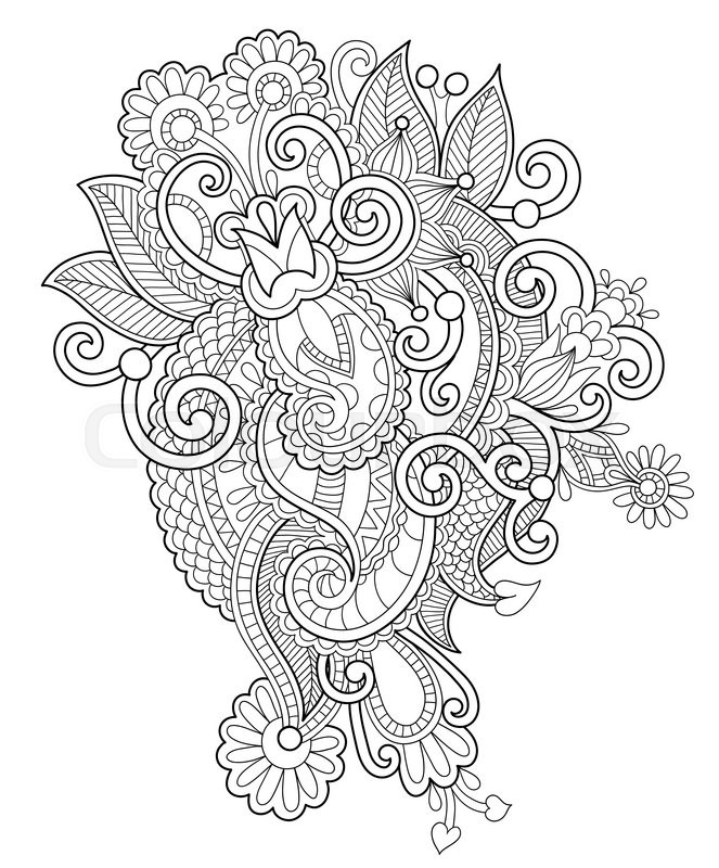 663x800 Black And White Zentangle Line Art Flower Drawing, Graphic Print