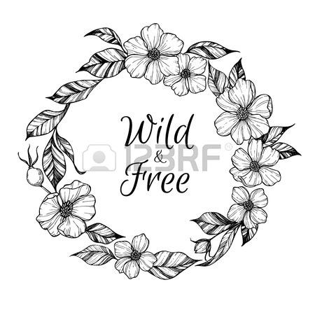 450x450 Hand Drawn Vector Illustration. Laurel Wreath With Black Flowers