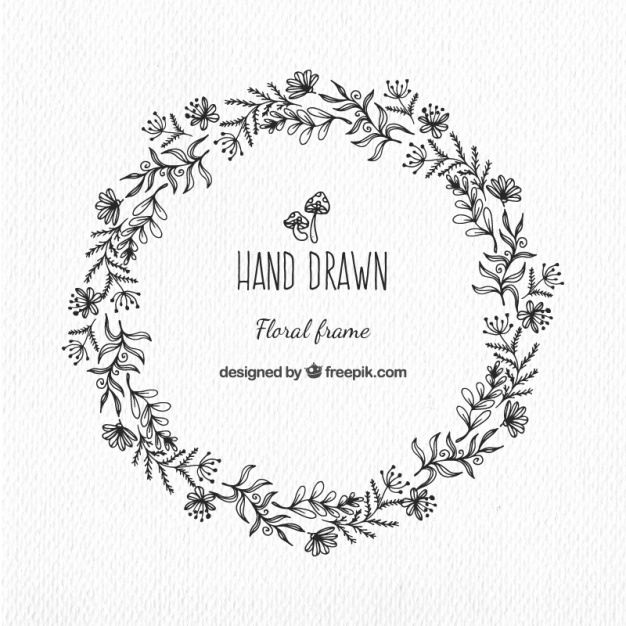 626x626 Hand Drawn Floral Wreath In Vintage Style Vector Free Download