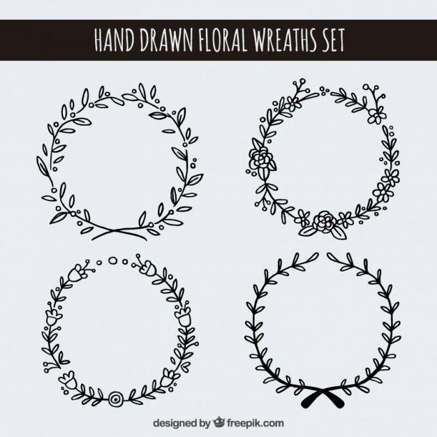 626x626 Hand Drawn Floral Wreaths Set Vector Free Download
