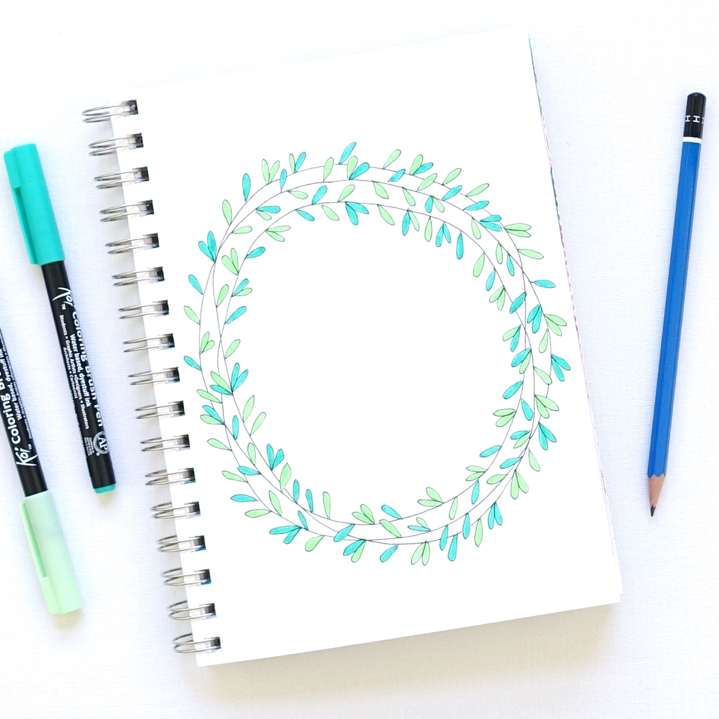 1400x1400 How To Draw A Floral Wreath