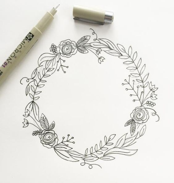 564x592 Simple Steps For Drawing A Wreath Wreaths, Draw And Third