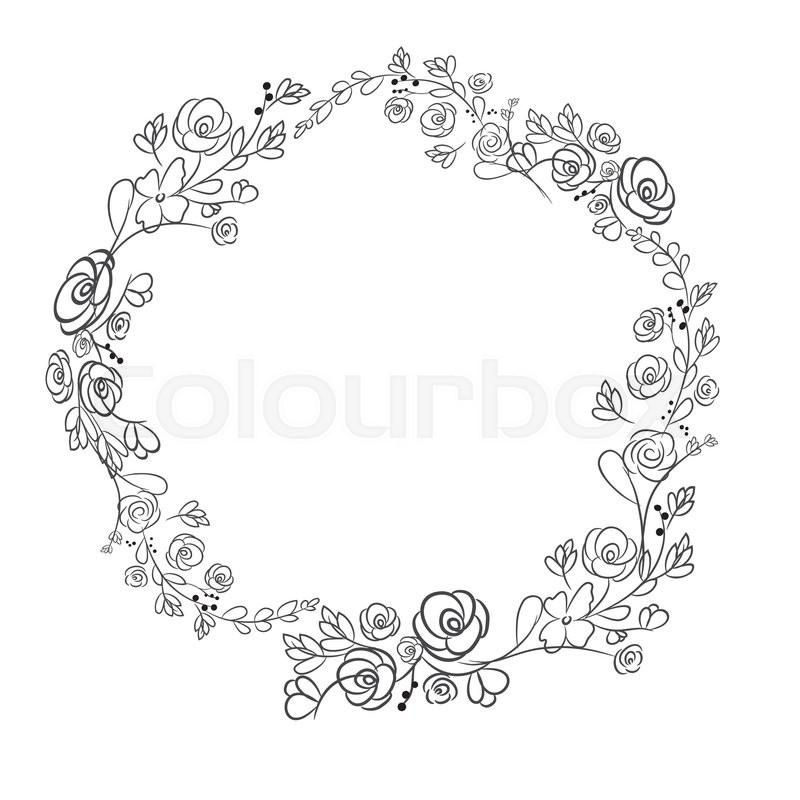 800x800 Spring Flower Wreath Laurel Branches. Vector Hand Drawn Design