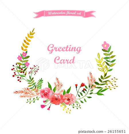 450x468 Vector Floral Wreath Drawing Watercolor.