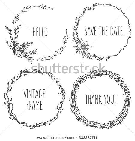 450x470 Vector Vintage Wreaths. Collection Of Trendy Cute Floral Frames