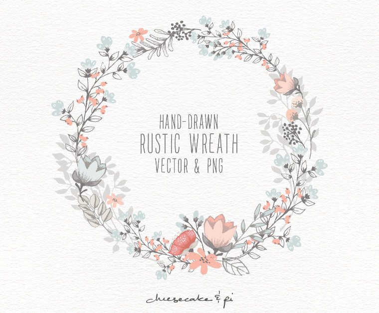 760x627 Floral Wreath Hand Drawn Clipart Wedding
