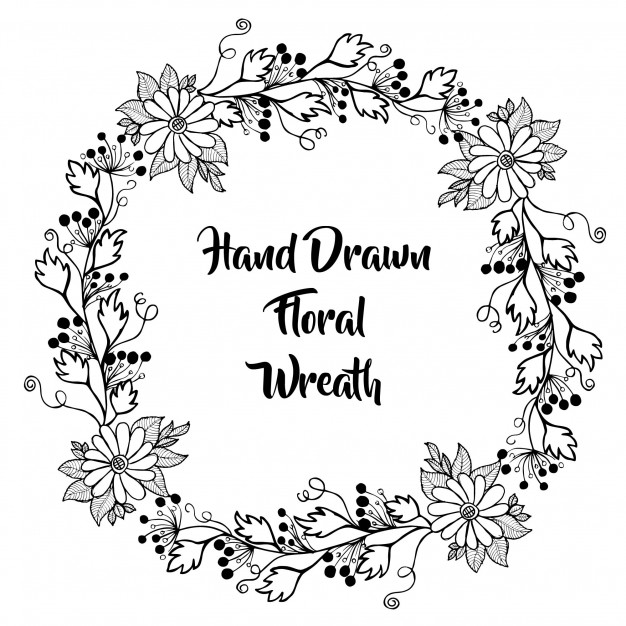626x626 Hand Drawn Black And White Floral Wreath Vector Free Download