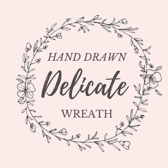 570x570 Hand Drawn Delicate Floral Wreath Line Drawing Clipart