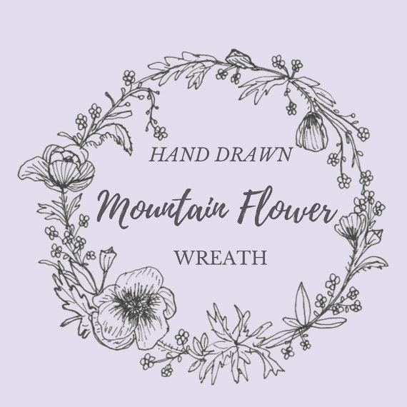 570x570 Hand Drawn Mountain Flower Wreath Line Drawing Flowers