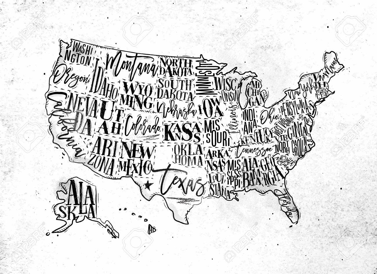1300x945 Vintage Usa Map With States Inscription California, Florida