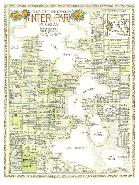 570x760 Winter Park Florida Map In Two Sizes Print From Original