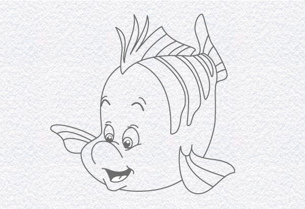 600x411 How To Draw Flounder, From The Little Mermaid Doodleberry Patch