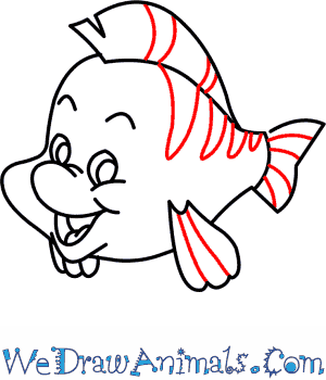 300x350 How To Draw Flounder From The Little Mermaid