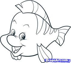 236x211 How To Draw The Little Mermaid How To Draw Flounder, Step By
