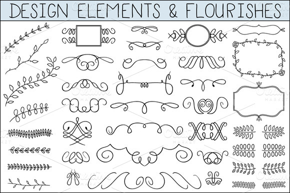 580x386 Flourishes ~~ Elegant Hand Drawn Flourishes And Other Design