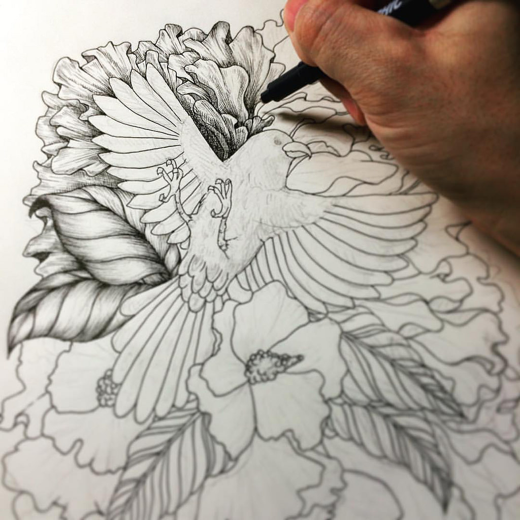 1024x1024 Pencil Drawing Birds And Flower