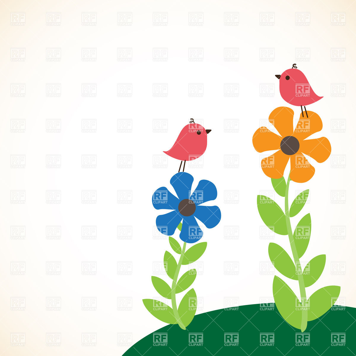 1200x1200 Simple Birds And Flowers Drawing Royalty Free Vector Clip Art