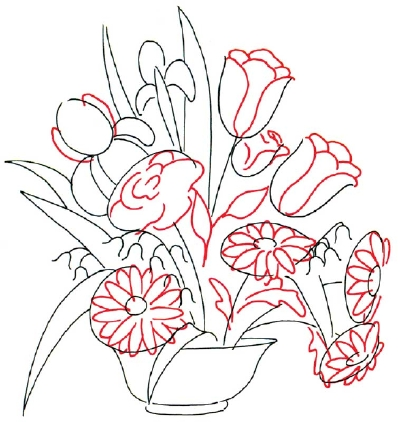 Flower Arrangement Drawing