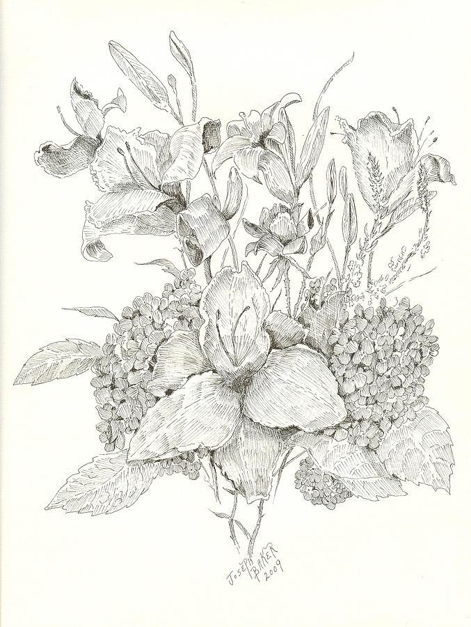 677x900 Flower Arrangement At Bert Ferguson Drawing By Joseph Baker