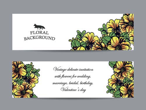 500x375 Flower Banners Hand Drawing Vector Design 05